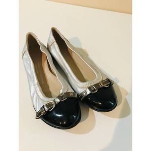 AGL silver leather ballet flats black toe w buckle
